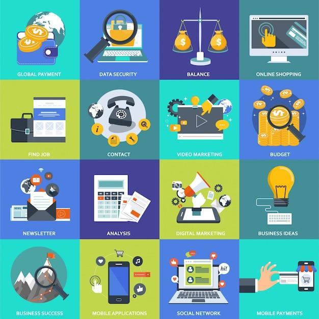 Conjunto de ícones de negócios, gestão e tecnologia Vetor Premium