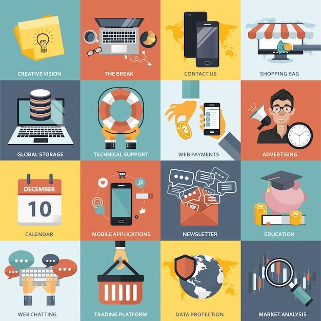Conjunto de ícones de negócios, tecnologia, finanças e educação Vetor Premium