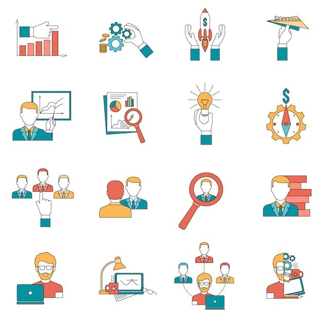 Conjunto de ícones de negócios Vetor grátis