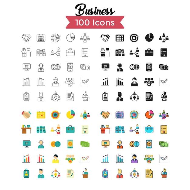 Conjunto de ícones de negócios. Vetor Premium