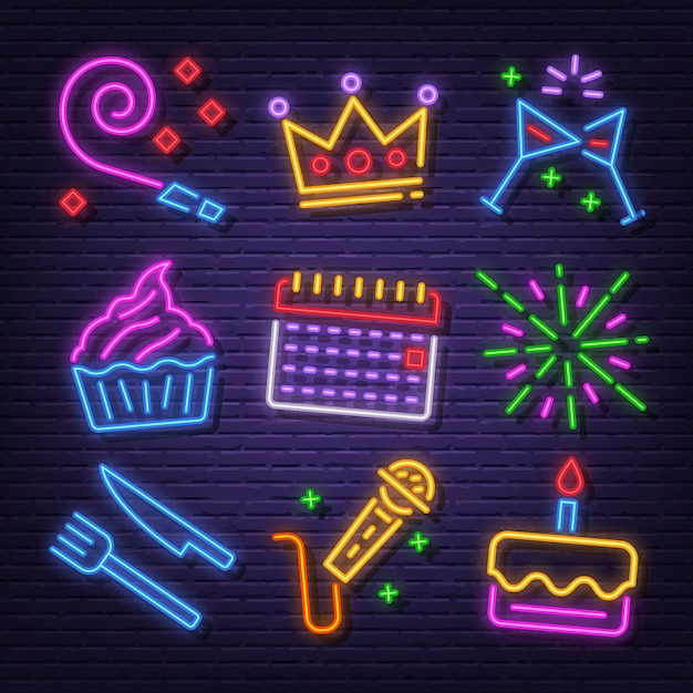 Conjunto de ícones de néon de festa de aniversário Vetor Premium