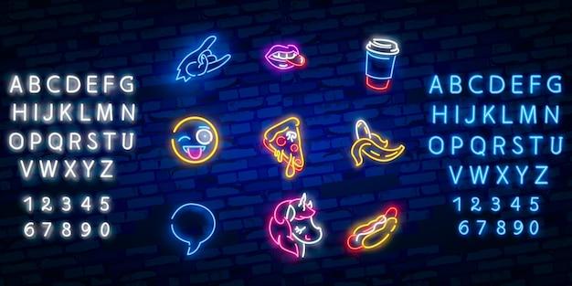 Conjunto de ícones de néon pop art Vetor Premium