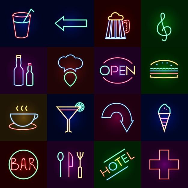 Conjunto de ícones de néon Vetor grátis