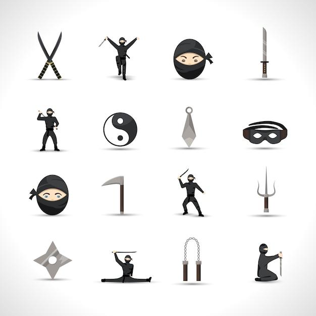 Conjunto de ícones de ninja Vetor grátis