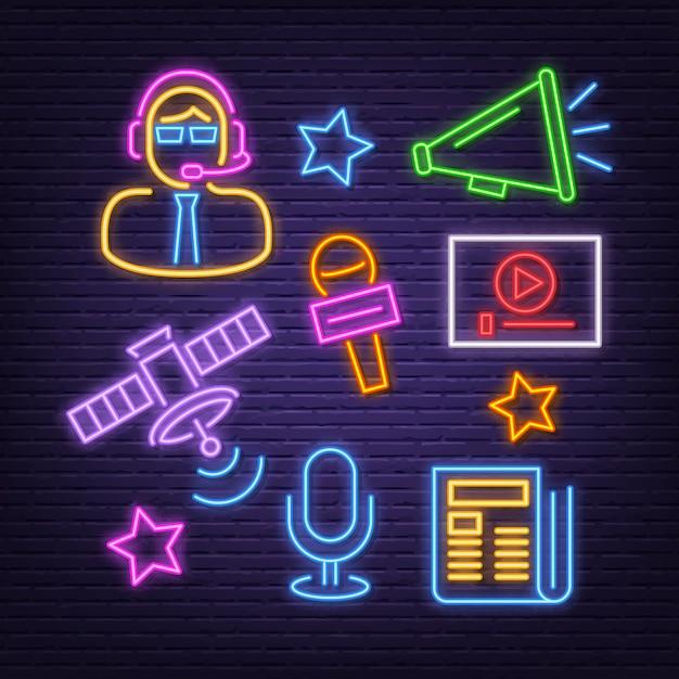 Conjunto de ícones de notícias neon Vetor Premium