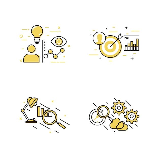 Conjunto de ícones de objetivo e conceito de negócio Vetor Premium