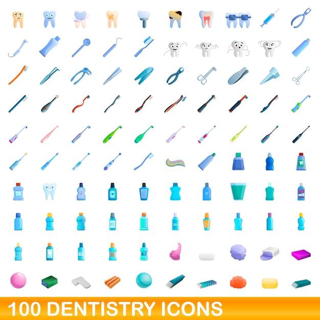 Conjunto de ícones de odontologia. ilustração dos desenhos animados de ícones de odontologia em fundo branco Vetor Premium
