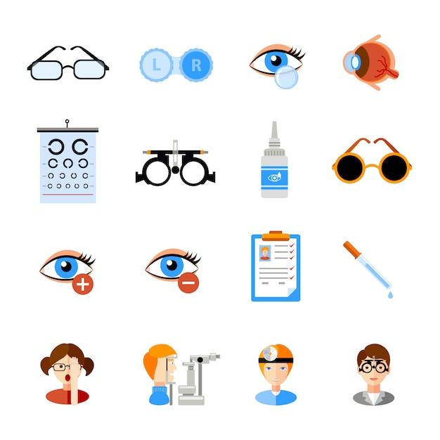 Conjunto de ícones de oftalmologia Vetor grátis
