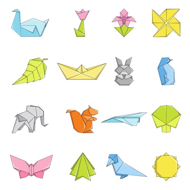 Conjunto de ícones de origami Vetor Premium