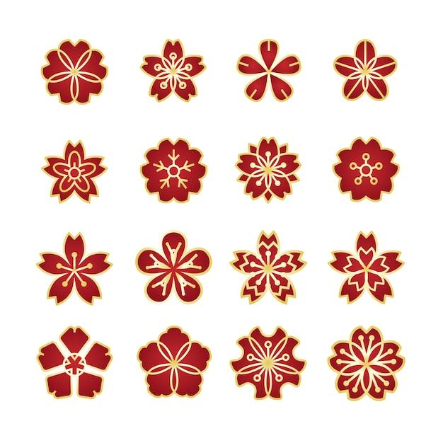 Conjunto de ícones de ornamento de flores Vetor Premium