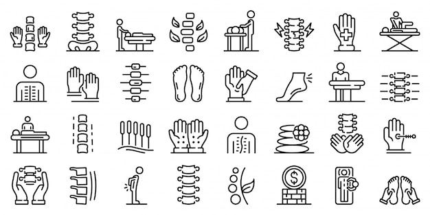 Conjunto de ícones de osteopatia, estilo de estrutura de tópicos Vetor Premium