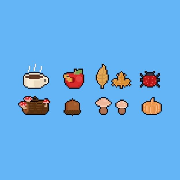 Conjunto de ícones de outono de arte pixel. 8 bits Vetor Premium