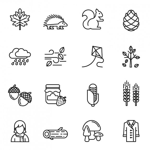 Conjunto de ícones de outono Vetor Premium