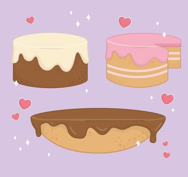 Conjunto de ícones de padaria de bolos doces Vetor grátis