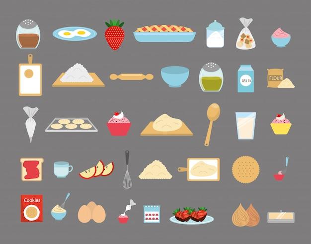Conjunto de ícones de padaria doce Vetor grátis
