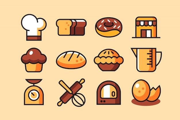 Conjunto de ícones de padaria Vetor Premium