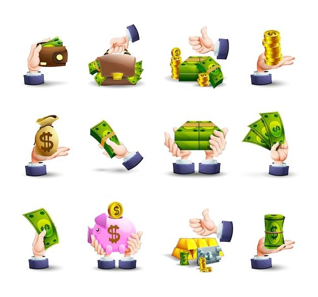 Conjunto de ícones de pagamento em dinheiro de mãos Vetor grátis