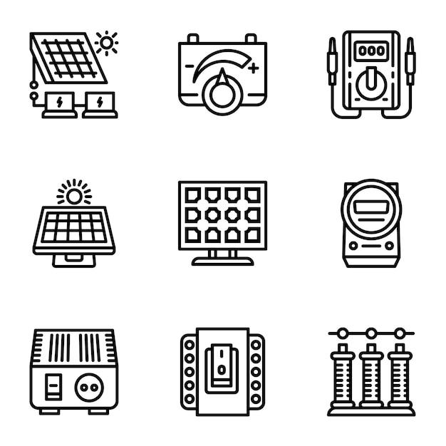 Conjunto de ícones de painel solar, estilo de estrutura de tópicos Vetor Premium