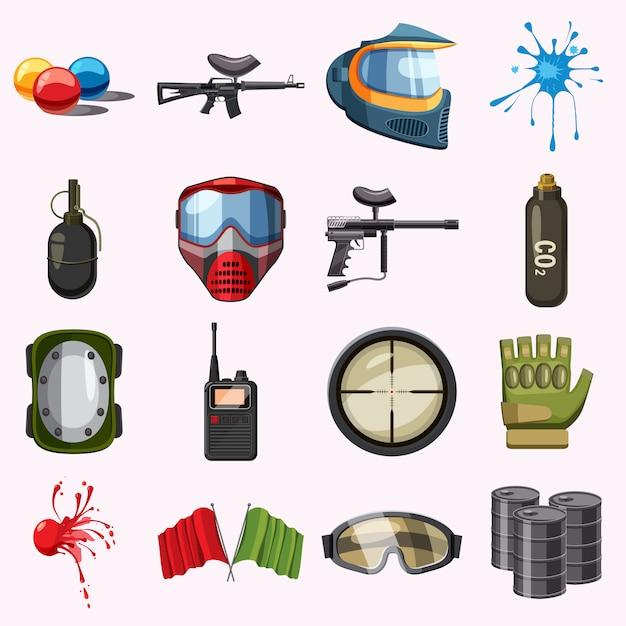 Conjunto de ícones de paintball, estilo cartoon Vetor Premium