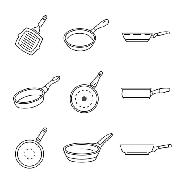 Conjunto de ícones de panela de chapa. conjunto de tópicos de ícones de vetor de panela de grelhar Vetor Premium