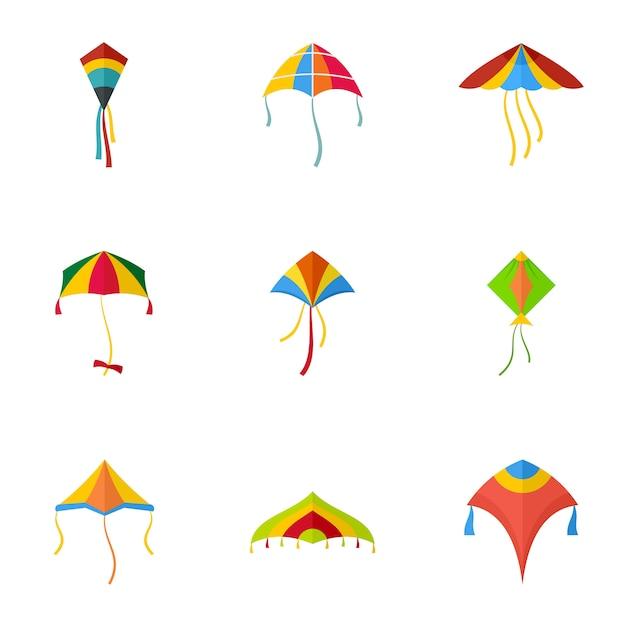 Conjunto de ícones de papagaio colorido, estilo simples Vetor Premium