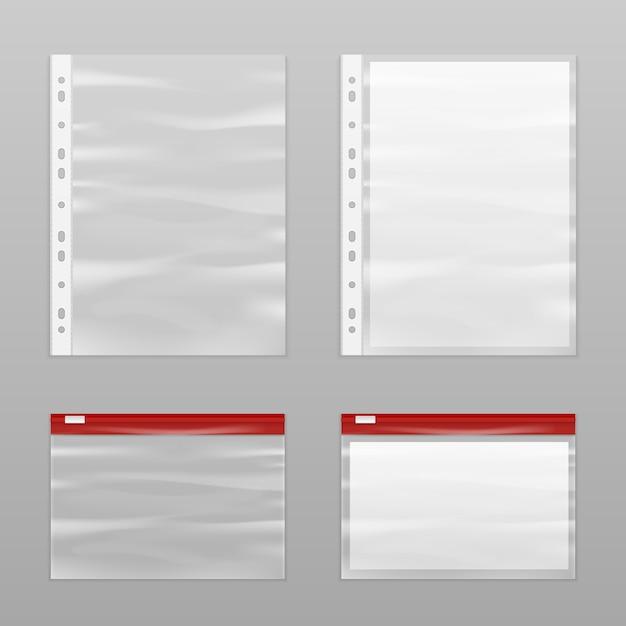 Conjunto de ícones de papel e sacos de plástico vazios Vetor grátis