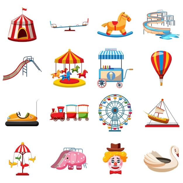 Conjunto de ícones de parque de diversões, estilo simples Vetor Premium