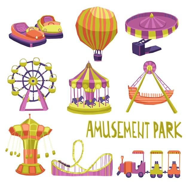 Conjunto de ícones de parque de diversões Vetor grátis