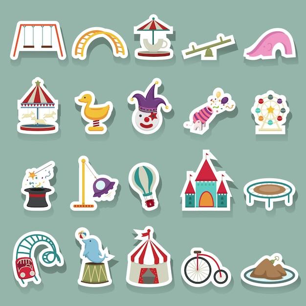 Conjunto de ícones de parque de diversões Vetor Premium