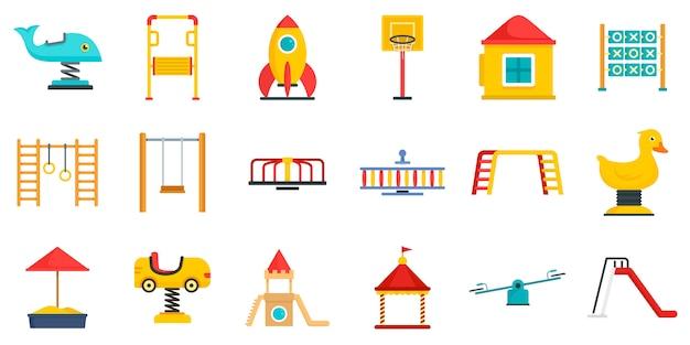 Conjunto de ícones de parque infantil Vetor Premium
