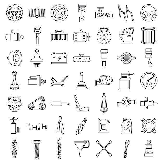 Conjunto de ícones de parte de carro de manutenção Vetor Premium