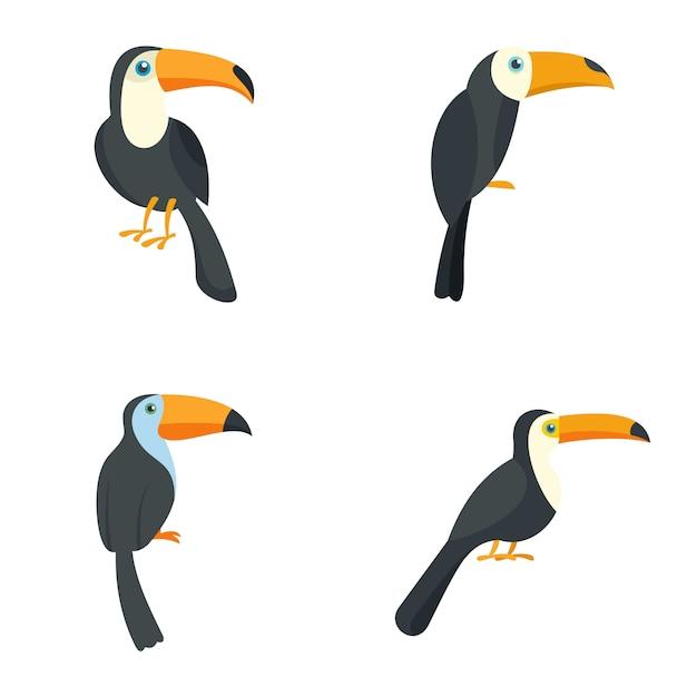 Conjunto de ícones de pássaro papagaio tucano Vetor Premium