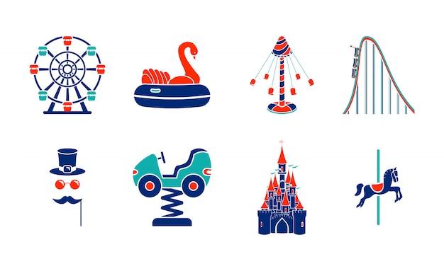 Conjunto de ícones de passeio de parque de diversões de arte de linha. Vetor Premium