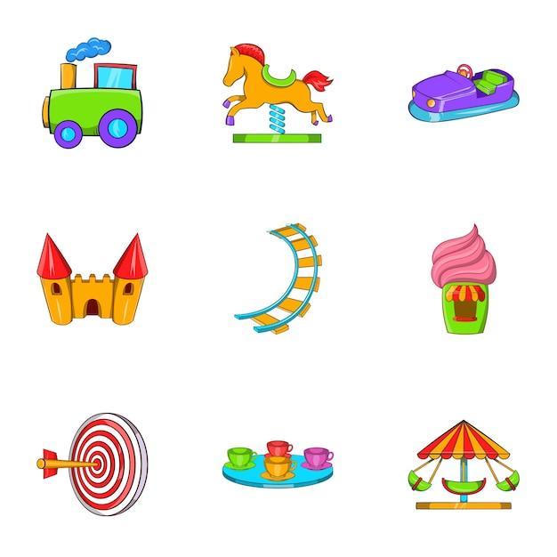 Conjunto de ícones de passeios, estilo cartoon Vetor Premium