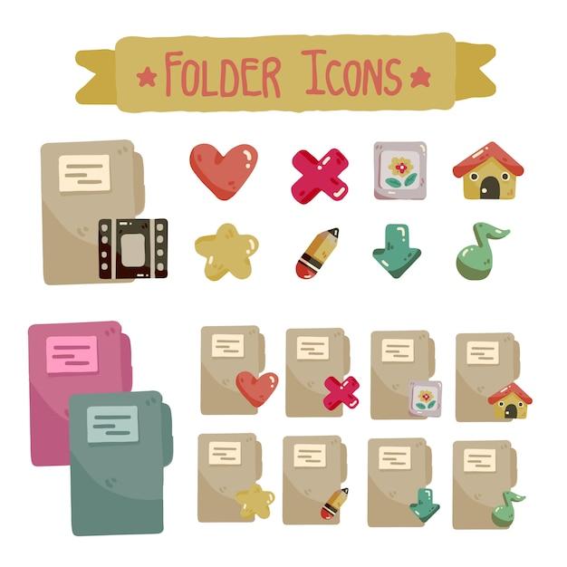 Conjunto de ícones de pasta bonito para cores diferentes de desktop e laptop Vetor Premium