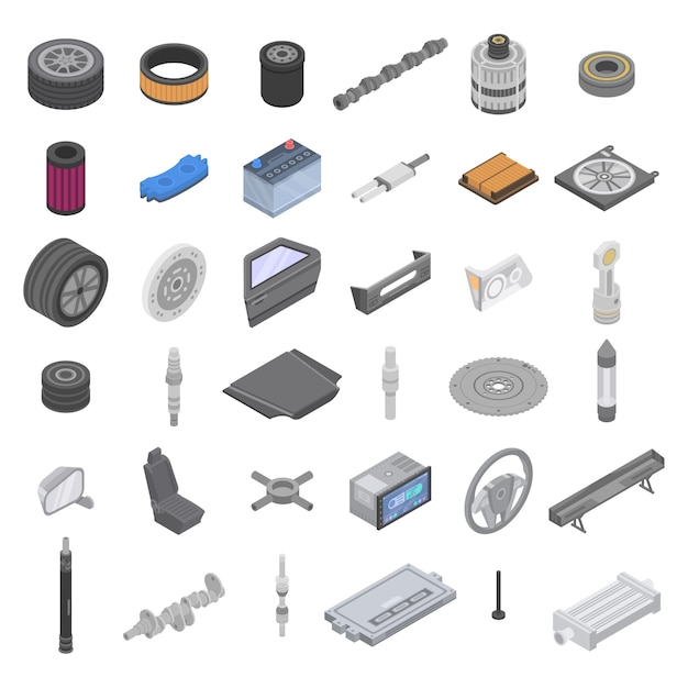 Conjunto de ícones de peças de carro, estilo isométrico Vetor Premium
