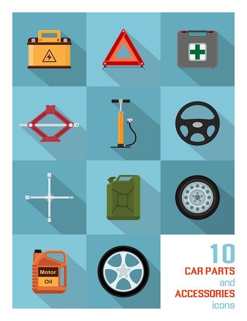 Conjunto de ícones de peças e acessórios de automóveis em fundo azul. Vetor Premium