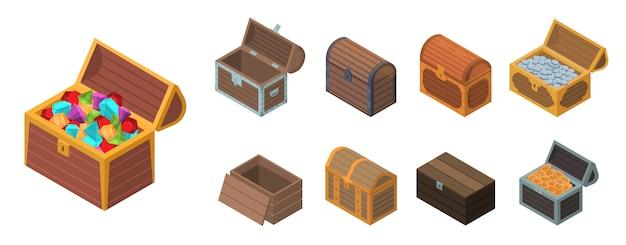 Conjunto de ícones de peito dote, estilo isométrico Vetor Premium