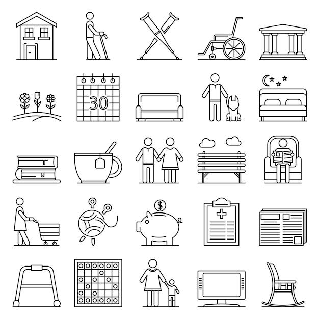 Conjunto de ícones de pensão. conjunto de contorno de ícones do vetor de pensão Vetor Premium