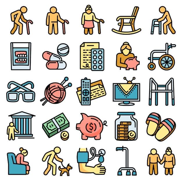 Conjunto de ícones de pensão, estilo de estrutura de tópicos Vetor Premium