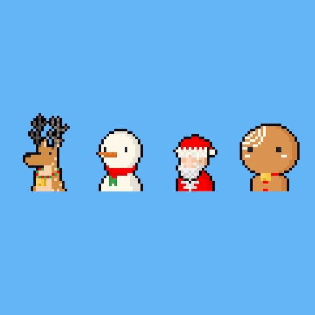 Conjunto de ícones de personagem de desenho animado de pixel art. Vetor Premium