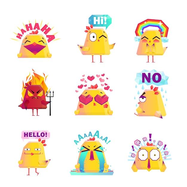 Conjunto de ícones de personagem de desenho animado frango engraçado Vetor grátis