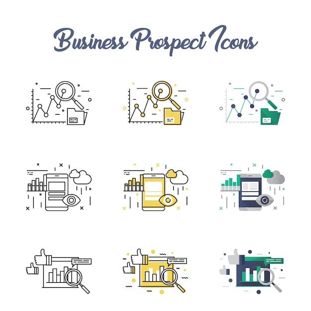 Conjunto de ícones de perspectiva de negócios Vetor Premium