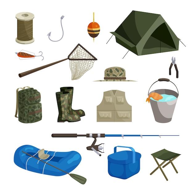 Conjunto de ícones de pesca, estilo cartoon Vetor Premium