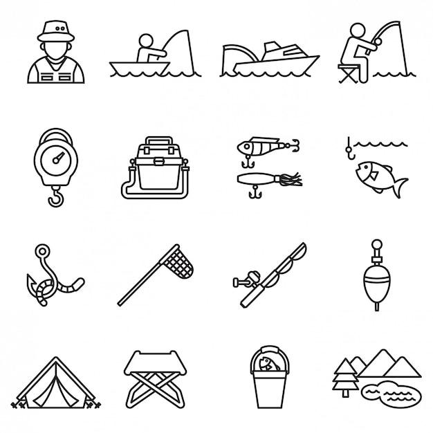 Conjunto de ícones de pesca Vetor Premium