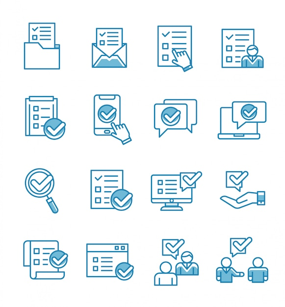 Conjunto de ícones de pesquisa com o estilo de estrutura de tópicos. Vetor Premium
