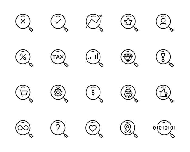 Conjunto de ícones de pesquisa, como zoom, localização, verificação, pontaria, destino, descoberta Vetor Premium