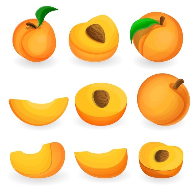 Conjunto de ícones de pêssego, estilo cartoon Vetor Premium