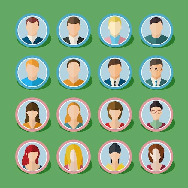 Conjunto de ícones de pessoas com rostos. Vetor Premium