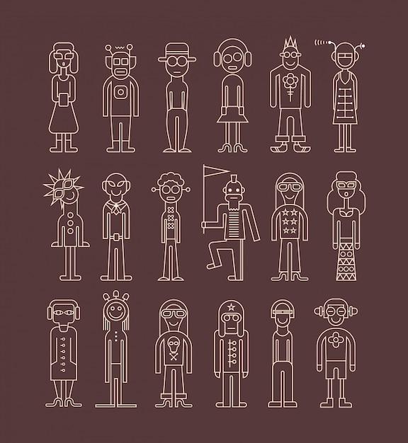 Conjunto de ícones de pessoas de contorno Vetor Premium